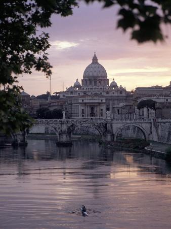 Skyline of St. Peter's from Ponte Umberto, Rome, Lazio, Italy