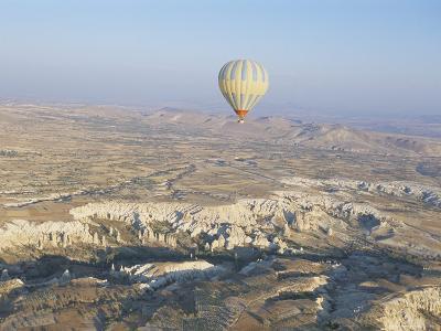 Hot Air Ballooning Over Rock Formations, Cappadocia, Anatolia, Turkey