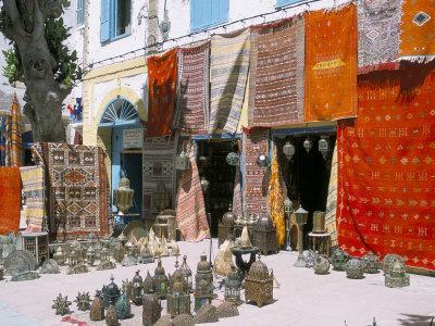 Carpets and Metalware for Sale, Essaouira, Morocco, North Africa, Africa