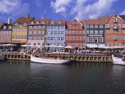 Nyhavn, or New Harbour, Busy Restaurant Area, Copenhagen, Denmark, Scandinavia