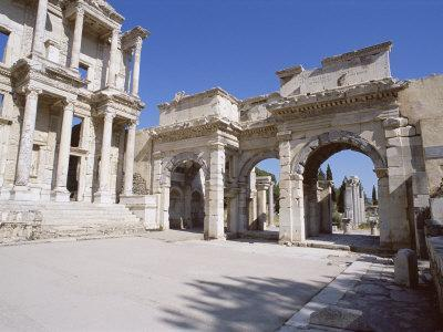 Reconstructed Library of Celsus, Archaeological Site, Ephesus, Anatolia, Turkey