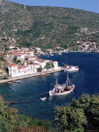 Fishing Boat and Harbour, Agia Kyriaki, Pelion, Greece
