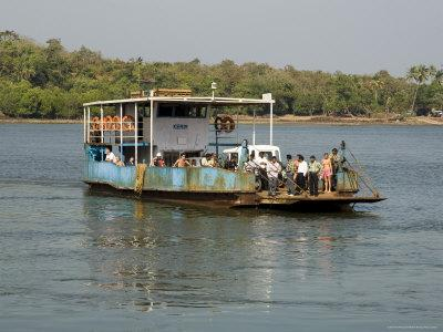 Ferry Crossing the Tiracol River, Goa, India