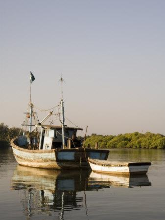 Fishing Boats on Backwater Near Mobor, Goa, India