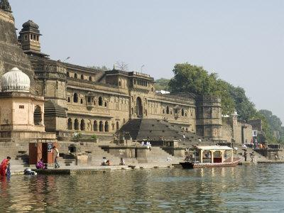 Shiva Hindu Temple and Ahilya Fort Complex on Banks of the Narmada River