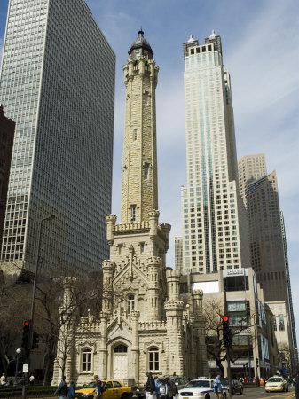 The Historic Water Tower, Near the John Hancock Center, Chicago, Illinois, USA