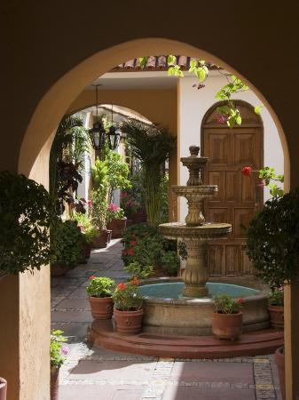 Typical Courtyard, Oaxaca City, Oaxaca, Mexico, North America