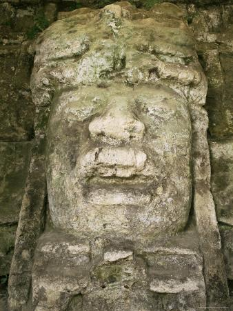 Mask 4M High, Structure P9-56, Lamanai, Belize, Central America