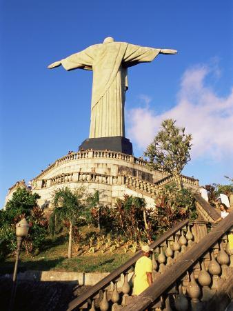 Christ the Redeemer Statue from Rear, Corcovado, Rio De Janeiro, Brazil, South America