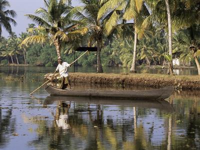 Typical Backwater Scene, Where Canals and Rivers are Used as Roadways, Kerala State, India