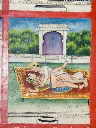 Scenes from the Kama Sutra from Cupboard in the Juna Mahal Fort, Dungarpur, Rajasthan State, India