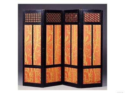 An Ebonised Four Fold Aesthetic Movement Screen, English Circa 1875
