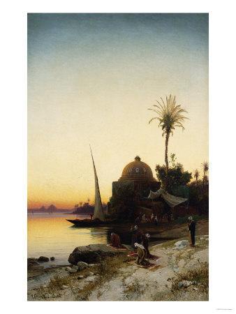 Arab Men Praying by the Nile at Sunset