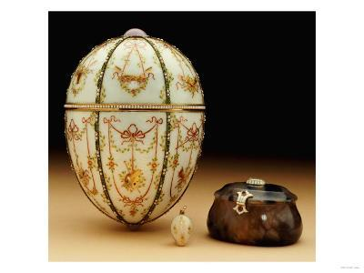 The Kelch Bonbonniere Egg Pictured with Its Surprises, Faberge, 1899-1903