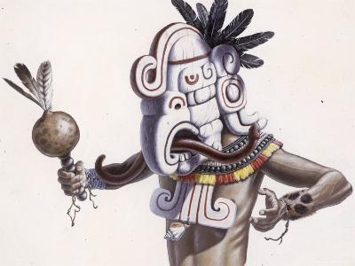 Mayan Indian Wears a Mask That Reflects a Deity