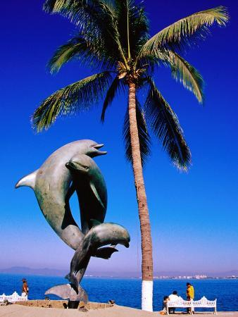 Dolphin Fountain on Boardwalk, Old Town Area, Mexico