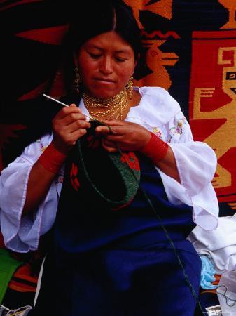 Otavaleno Indian Woman Crocheting a Bag on Poncho Plaza in Otavalo, Otavalo, Imbabura, Ecuador