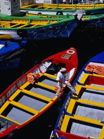 Colourful Boat in Harbour, Valparaiso, Chile
