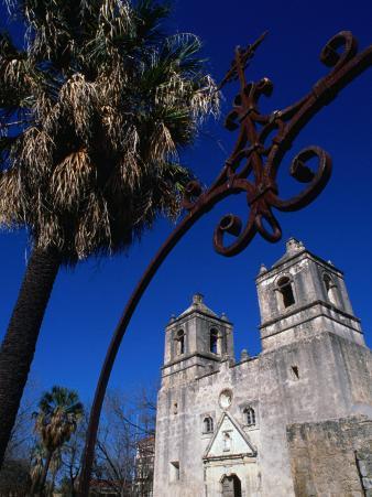 Mission Conception through Wrought Iron Gate, San Antonio, Texas
