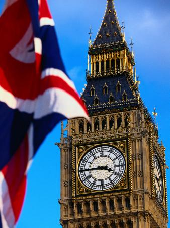 The Union Jack Flag and Big Ben, London, England