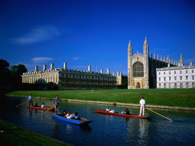 King's College Chapel and Punts on River, Cambridge, Cambridgeshire, England
