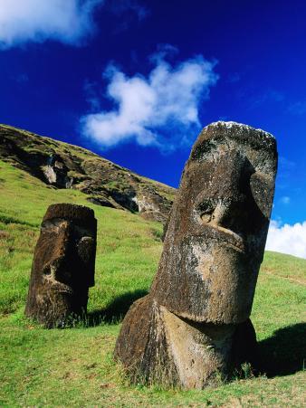 Moai on Side of Volcano, Easter Island, Valparaiso, Chile