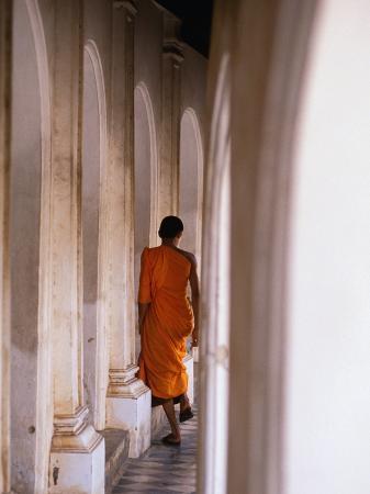 Monk Walking Away, Bangkok, Thailand
