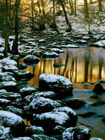 River Rathay at Grasmere with Winter Snow on Rocks, Lake District National Park, Cumbria, England