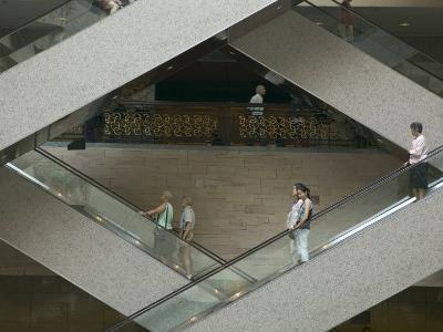 Escalators in the Shanghai Museum, Shanghai, China