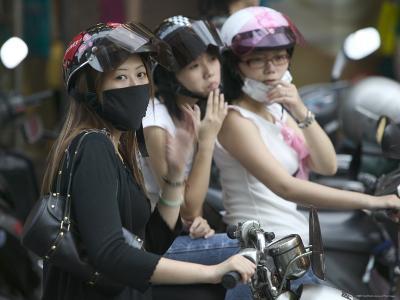 Teenage Bikers Sitting on Bikes, Keelung, Taipei, Taiwan