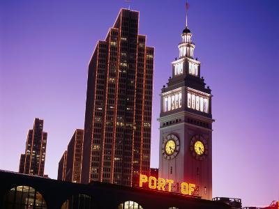 Ferry Building, Financial Buildings, Port of San Francisco Sign at Night, San Francisco, California