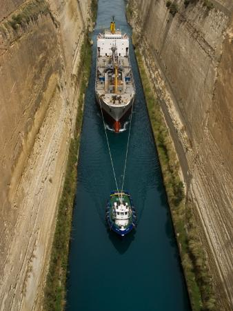 Ships in Narrow Corinth Canal, Corinth, Peloponnese, Greece