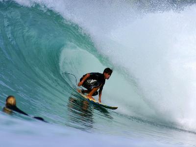 Surfer on Backhand Near Tube, Lagundri Bay, Pulau Nias, North Sumatra, Indonesia