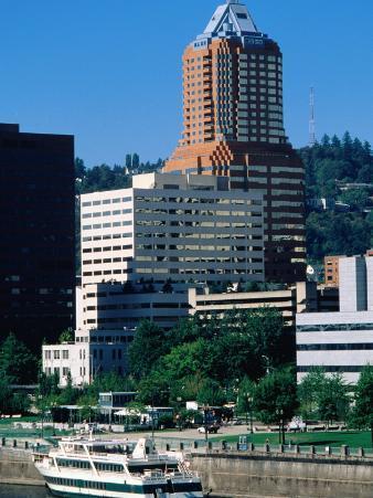 Willamette River, Downtown Skyline Seen from East, Portland, Oregon