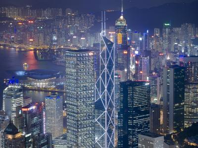 The Towers of Central to Hong Kong Harbour  from Victoria Peak at Dusk, Hong Kong, China
