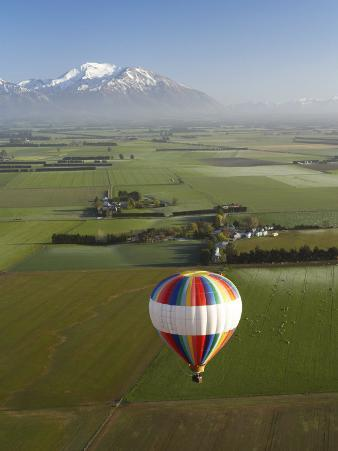 Hot-Air Balloon near Methven with Mountains in Distance, New Zealand