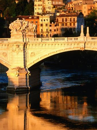 Ponte Vittorio Emanuele II Reflected in Tiber River at Sunrise, Rome, Italy