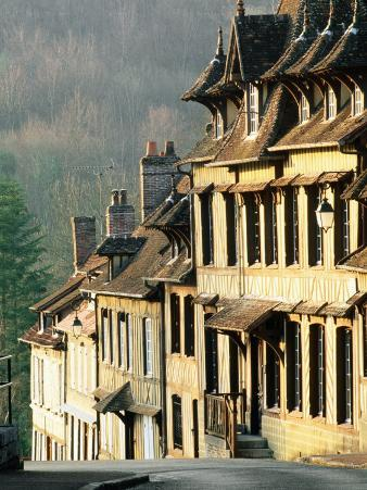 Row of Timbered Houses along Steep Hill, Lyons-La-Foret, Eure, Haute-Normandy, France