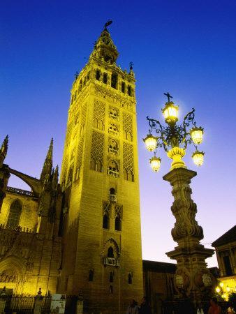 La Giralda Cathedral at Night, Sevilla, Andalucia, Spain
