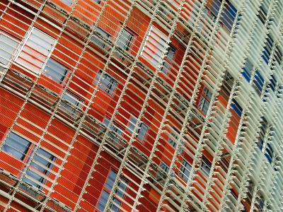 Facade Detail of the Torre Agbar, Barcelona, Catalonia, Spain