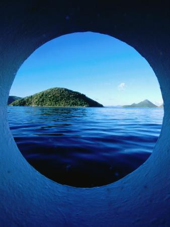 Islands Seem from Star Clipper Porthole, Tortola