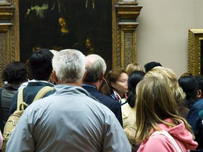 Visitors Viewing Artwork in the Musee du Louvre, Paris, Ile-De-France, France