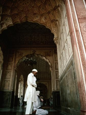 Call to Pray Inside the Badshahi Mosque, Lahore, Punjab, Pakistan