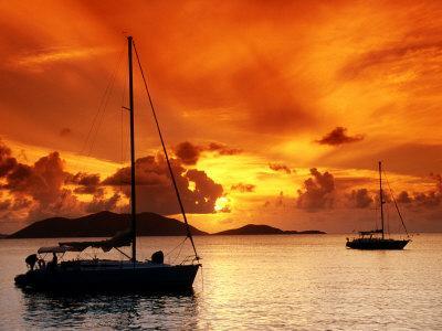 Moored Yachts at Sunset, Tortola, Virgin Islands