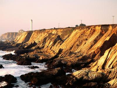 Historic Lighthouse on Coastal Cliffs, Point Arena, California