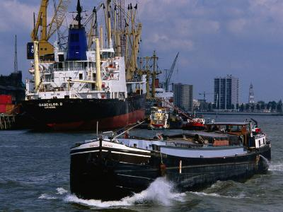 Ships in Rotterdam Harbour, Rotterdam, South Holland, Netherlands