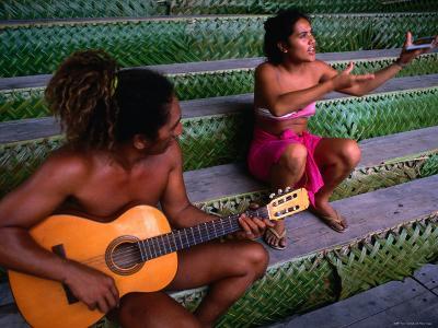 Polynesian Musicians, Tahiti, the Society Islands, French Polynesia