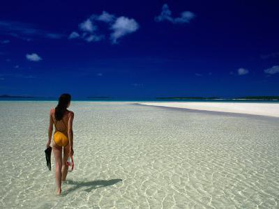 Woman Walking on Beach, Aitutaki, Southern Group, Cook Islands