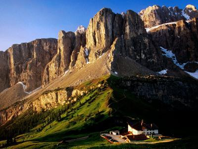 View of Gruppo Sella from Passo Gardena, Dolomites, Italy