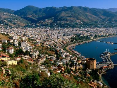 City and Marina Viewed from Surrounding Hillside, Alanya, Antalya, Turkey